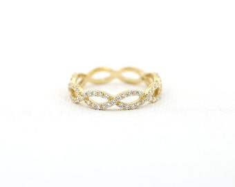 Infinity Ring/ Diamond Infinity Ring/ Micro Pave Infinity Twist Ring in 14k Gold with White Diamonds/ Infinity Wedding Band