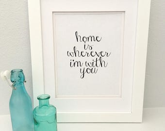 Home is where I'm with you, printable quote, gallery wall art, home saying, romantic art, anniversary gift, home decor, military families