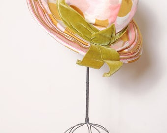 Vintage 60s pink polka dot hat / wide brim hat / saks fifth avenue hat / printed hat / spring hat