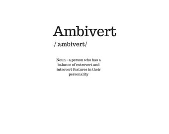 Ambivert - dictionary definition - wall art digital download