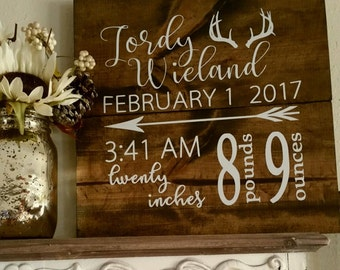 Baby Birth Wooden Sign- Can be custom made!