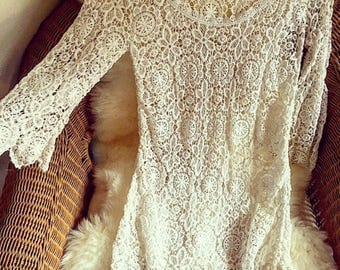 Vintage Lace Crochet Cut Out Mini dress Boho Festival Style