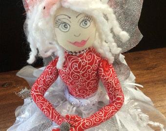 Sitting  fairy,Cloth doll,OOAK,Unique handmade gift,textile doll,Garden Fairy