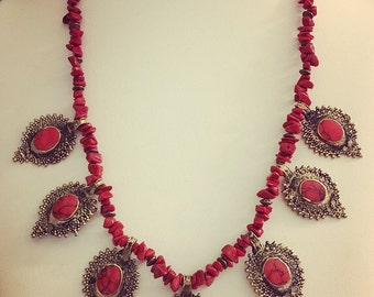 Red Coral and Brass Necklace Long