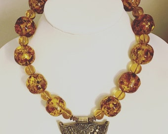 Baltic Amber Necklace with Brass Pendant