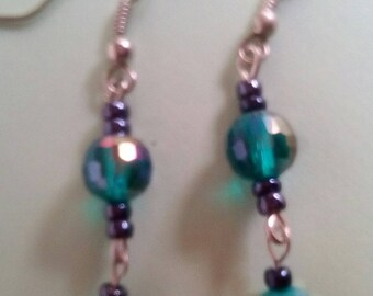 Crystal, earrings green turquoise woman, female summer earrings