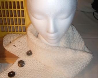 Crocheted Cream Button Scarf