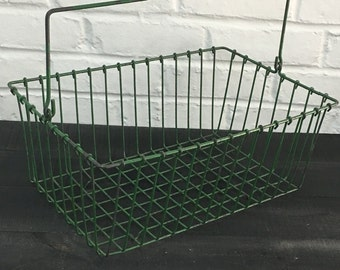 Vintage Green Metal Market Basket
