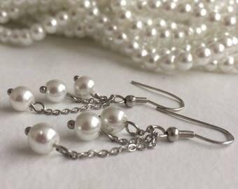 Glass pearl cascade drop dangle earrings, hypoallergenic stainless steel earrings,  hypoallergeen roestvrij staal oorbellen glasperels