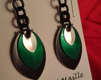 Black/Green/Silver 3 Graduated Scale Earrings