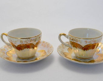 Vintage Demitasse Cup and Saucer Set of Two Sterling China Japan Gold and Iridescent