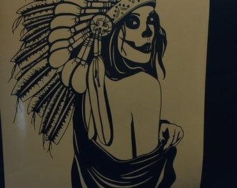 Native American Headdress Women Vinyl Decal