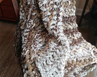 "Fluffy Soft Cozy Cloud Blanket/Crochet Blanket/Snuggle Blanket/Crochet Throw/52""x 60"""