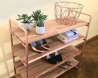 Shoe rack copper pipe shelf oak bookcase Dresser shoe rack oak copper pipe industrial