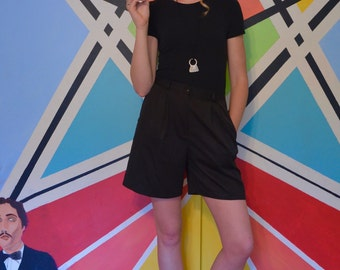 Vintage Black High Waisted Pleated-Front Shorts