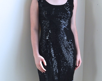 1980s Dress // Black Sequin Party Dress // 80s Dress