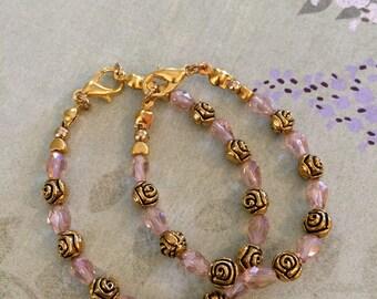 Pink bracelet, child's bracelet, infant bracelet, girl's bracelet, gold bracelet, bead bracelet, baby bracelet, toddler bracelet, jewelry