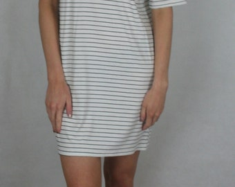 Black and White Stripped Tee Dress