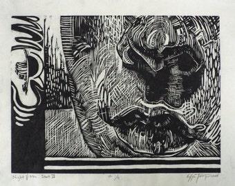 Night Vision: Woodcut Print // Fine Art Print