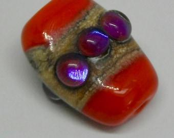 Coral organic art glass bead - pink metallic - ivory