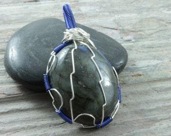 Labradorite wire wrap pendant - Silver - Ovan pendant - Labradorite necklace - Gemstone pendant