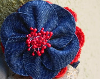 Denim Jeans Flower Hair Clip, Denim Flowers,Flower Hair Clip, Denim Jewelry, Spring Hair Clip, Summer Hair Clip , Hair Barrette, Blue Flower