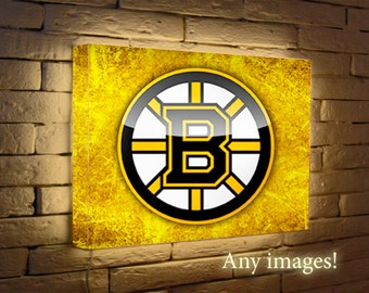 NHL Bruins Boston Night Light, Led lights, Logo  poster wall  lamp