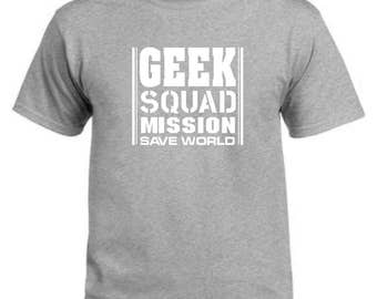 Geek squad mission save world grey t-shirt