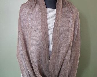 Linen Infinity Scarf,Linen Silk Cotton Shawl,Silk linen cape ,Linen Shawl Wrap,Brown shawl wrap,Summer shawls,Infinity scarf,Infinity shawls