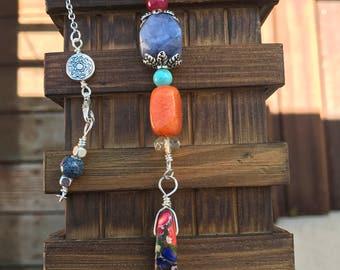 Composite Stone Drop Necklace || Semi Precious Necklace || Boho Necklace || Chakra Necklace