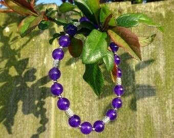 Amethyst & Tibetan Silver bead Bracelet elasticated - handmade