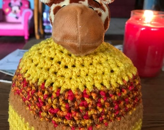 Crocheted giraffe hat