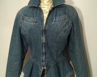 Retro 1990s Cotton Denim Jacket, Size 10 - Made in Italy by Byblos