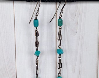 Turquoise TRINITY Earring with Antiqued Sterling Chain