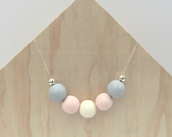 Pastel wooden bead necklace - geometric jewellery - minimalistic delicate silver chain beaded pendant style - rainbow long pendant chain