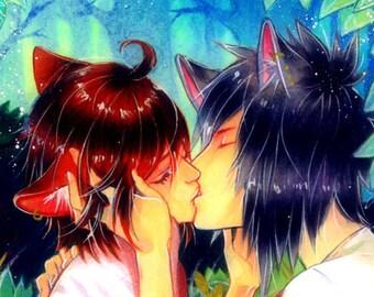 "Poster Print ""In The Forest"" (Wolfboy x Foxboy Shounen Ai Boys Love Boyslove Yaoi Love Story Bishounen  Manga Illustration) KoolFoolDesigns"