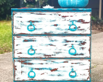 SOLD! Example... Beachy Shabby-Chic 3 Drawer Chest. Solid wood and distressed in teal and white. Treasure Coast Area Florida.