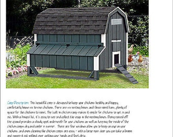 4\'x7\' Gable Poultry Chicken Coop / Duck House Plans, Material List ...