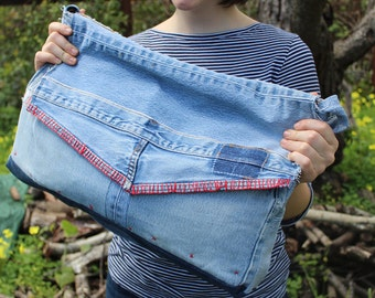OOAK Upcycled Denim Messenger Bag