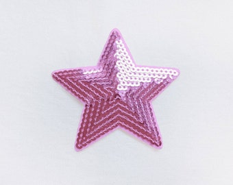 1x sequins sweet pink glitter purple shiny star patch love burlesque Iron On Embroidered Applique