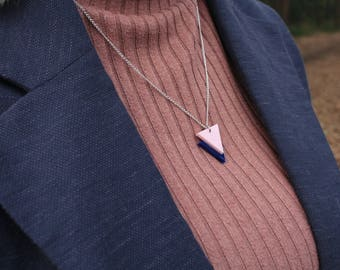 "Pink on Navy Laser Cut Acrylic Geometric Triangle Necklace 20"" Silver Chain"