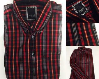 Bugatti mens shirt medium red black checkered regular fit