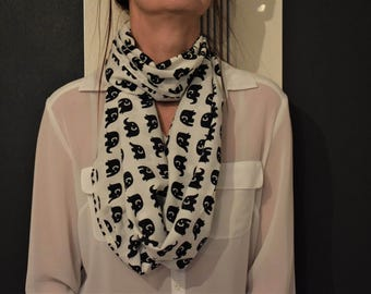 Infinity Loop Snood | Spring Summer, White with Black Elephants Cowl Scarf