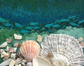 """Original Mixed Media Art """"Shore Gems"""" A collective Sculptural Relief of natural shells and oil paint depicting the beauty of ocean life."""