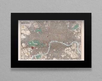 Instant Map Download - Antique LONDON, ENGLAND U.K. 1862 Map - J. Reynolds - 300 dpi - Vintage Map Old World Create Map Prints