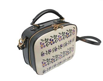 Leather Bag with Printed Romanian Traditional Motifs