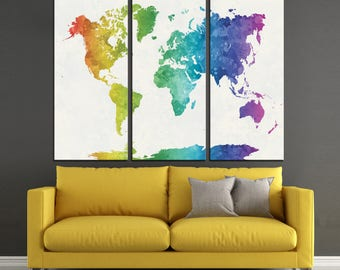 Watercolor World Map Print /Abstract World Map Print/ 1,2,3,4 or 5 Panels Print on Canvas for Wall Art framed and ready to hang