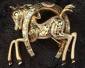 Vintage Damascene Lucky Horse Brooch with Horse in Horseshoe