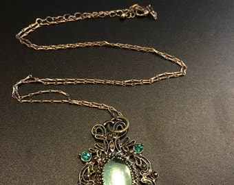 Antique Looking Green Charm Pendant Necklace