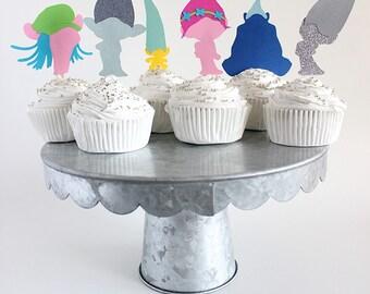 Trolls cupcake toppers, trolls birthday, trolls party decorations, trolls birthday decor, princess poppy cupcake, trolls invitation